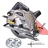 Sega Circolare 1500W, 5800 RPM, TECCPO Sega Circolare Professionale con Laser, 2 Lame Ø185mm (40T&24T), Profondità di Taglio 63mm (90°), 45mm (45°), Motore in Rame - TACS01P