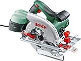 Bosch PKS 55 A Sega Circolare, 1200 Watt, Profondità del Taglio a 90°/45°, 0 - 55 mm, 0 - 38 mm, in Cartone