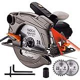 TACKLIFE 1500W 4700 RPM Sega Circolare con laser, 2 lame (185 mm), profondità e angolo di taglio regolabili: 45 mm (45°) - 63 mm (90°), estrazione della polvere, metallo morbido e plastica - PES01A