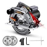 1500W Sega Circolare, 5000 giri/minuto, Protezione e Pattino in Alluminio, 190mm/24T e 185mm/40T Lame, Sega Circolare per Legno con Laser - PES03A